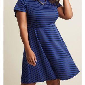 Size 3X - Striped Cobalt A-line Dress